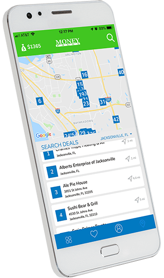 A graphic illustration of a smart phone featuring the Money Pages app. On screen there is a map of nearby deals.